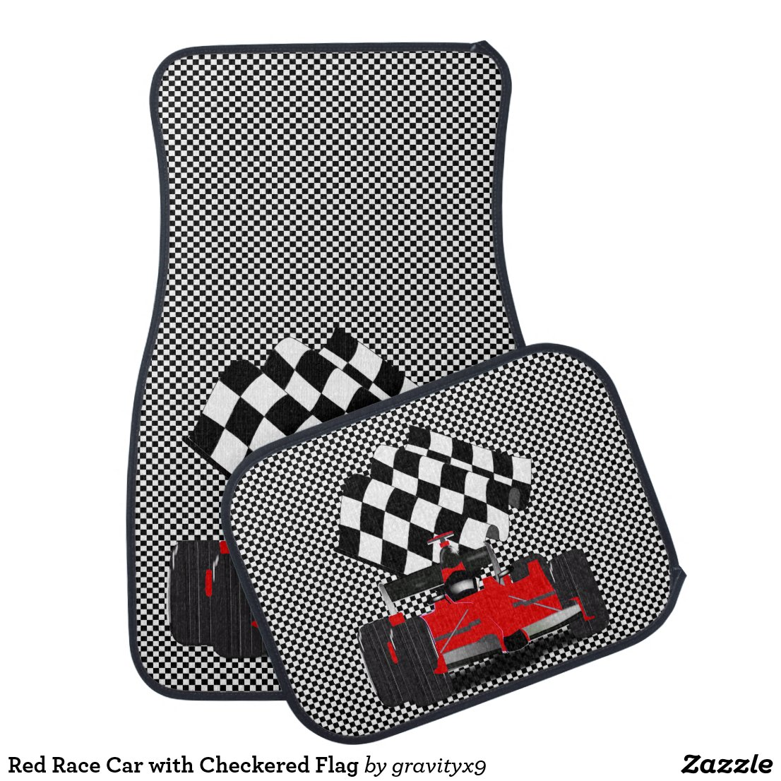 Red Race Car with Checkered Flag Car Mat