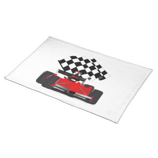Red Race Car with Checkered Flag Cloth Placemat