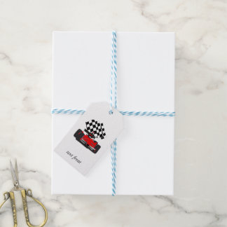 Red Race Car with Checkered Flag Gift Tags
