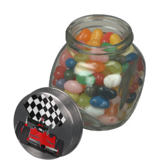 Red Race Car with Checkered Flag Glass Candy Jars