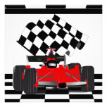 Red Race Car with Checkered Flag Invite