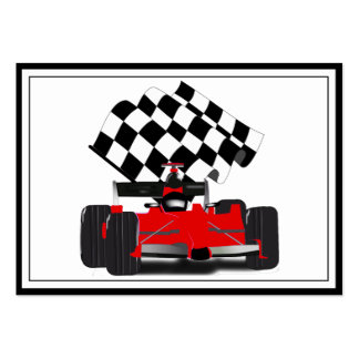 Red Race Car with Checkered Flag Large Business Card