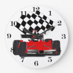 Red Race Car with Checkered Flag Large Clock