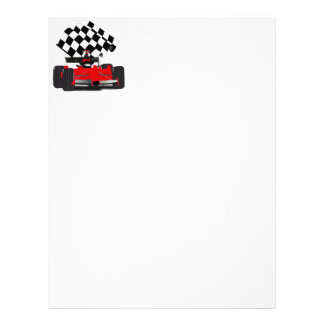 Red Race Car with Checkered Flag Letterhead