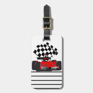 Red Race Car with Checkered Flag Tags For Bags