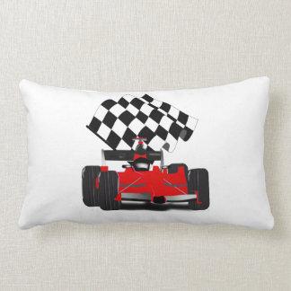 Red Race Car with Checkered Flag Lumbar Pillow