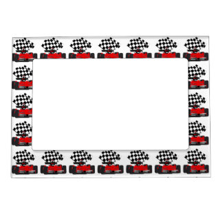 Red Race Car with Checkered Flag Photo Frame Magnet