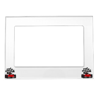 Red Race Car with Checkered Flag Magnetic Photo Frame