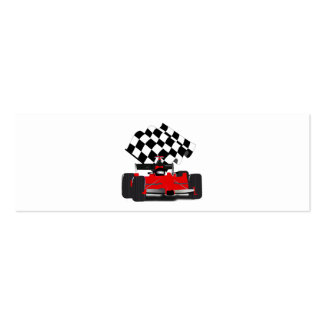 Red Race Car with Checkered Flag Mini Business Card