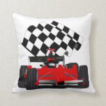 Red Race Car with Checkered Flag Pillows
