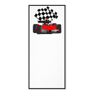 Red Race Car with Checkered Flag Rack Card