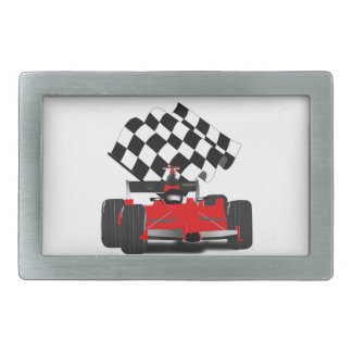 Red Race Car with Checkered Flag Rectangular Belt Buckle