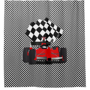 Red Race Car With Checkered Flag Shower Curtain