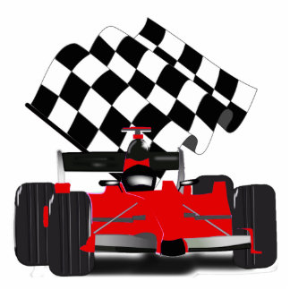 Red Race Car with Checkered Flag Statuette