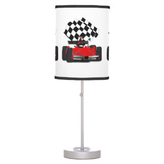 Red Race Car with Checkered Flag Table Lamp