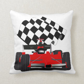 Red Race Car with Checkered Flag Throw Pillow