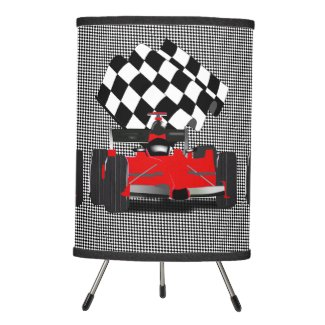 Red Race Car with Checkered Flag Tripod Lamp