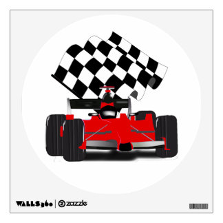 Red Race Car with Checkered Flag Wall Decal