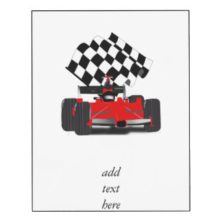 Red Race Car with Checkered Flag Wood Wall Art