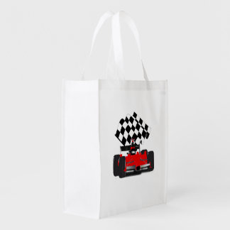 Red Race Car with Checkered Flag Grocery Bags