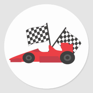 Red Race car with Checkered Flags Round Sticker