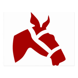 Red Race Horse Head Icon Postcard