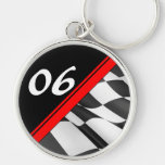 Red Race Stripe Checkered Flag Number Keychain Keychain