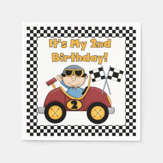 Red Racing Car 2nd Birthday Paper Napkins