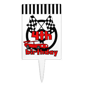 Red Racing Car 4th Birthday Cake Topper