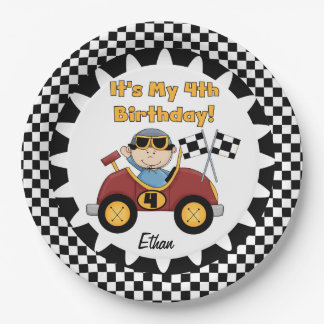 Red Racing Car 4th Birthday Paper Plates