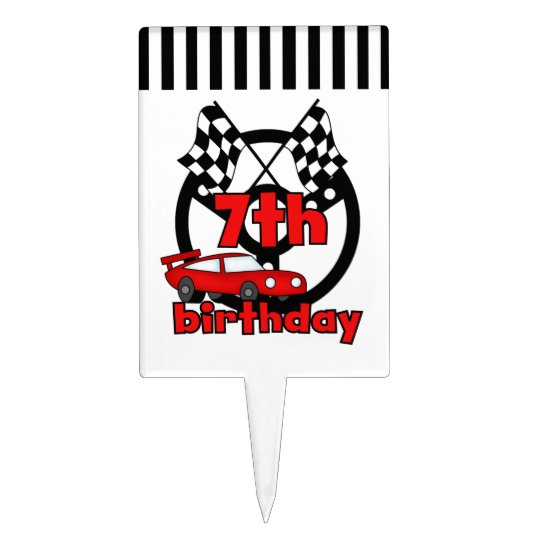 Red Racing Car 7th Birthday Cake Topper