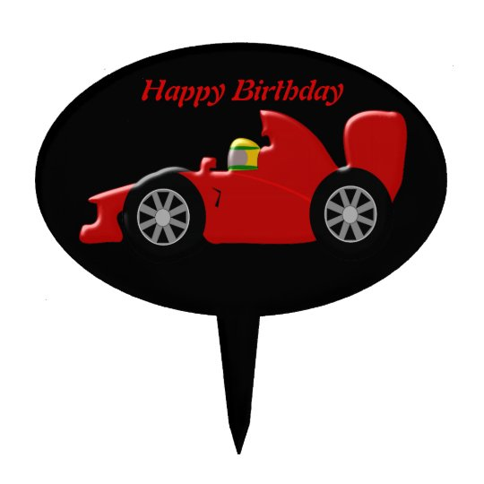 Red Racing Car Birthday Cake Topper Zazzlecom