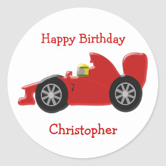 Red Racing Car Birthday Classic Round Sticker