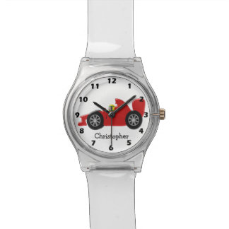 Red Racing Car Just Add Name Wristwatch