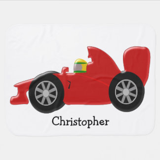 Red Racing Car Personalized Stroller Blanket