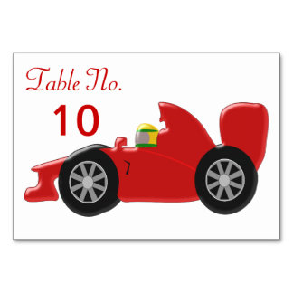 Red Racing Car Table Cards