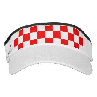 Red Racing Checkered Flag Display Customizable Visor