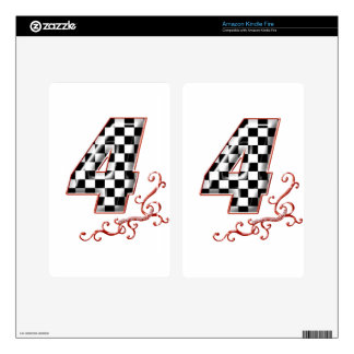 red racing number 4 decal for kindle fire