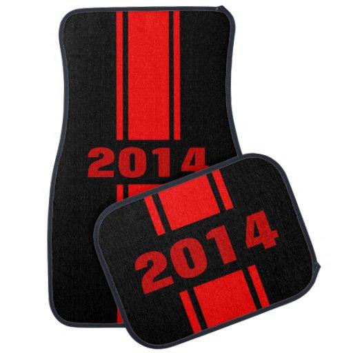 Red Racing Stripes 2014 Custom Auto Floor Mats Car Mat