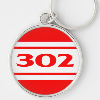Red Racing Stripes 302 Motor Size Keychain