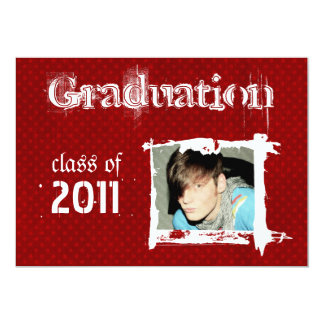 Red Rad Grad Funky Dots Graduation Invitations