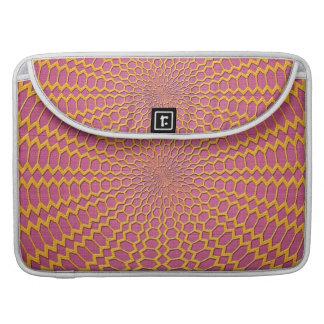 Red radial del oro en diseño rosado funda macbook pro