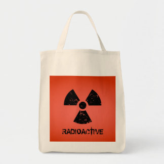 Red Radioactive Symbol Grocery Tote Bag
