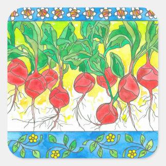 Red Radishes Garden Vegetables Daisy Flowers Square Sticker
