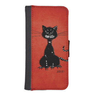 Red Ragged Evil Black Cat iPhone SE/5/5s Wallet