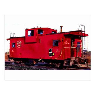 Red Railroad Caboose Postcard