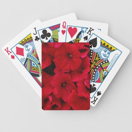Red Rain Drop Petunias Bicycle Card Decks