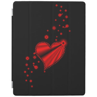 Red Rainbow Heart with Stars on black iPad Cover