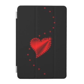 Red Rainbow Heart with Stars on black iPad Mini Cover
