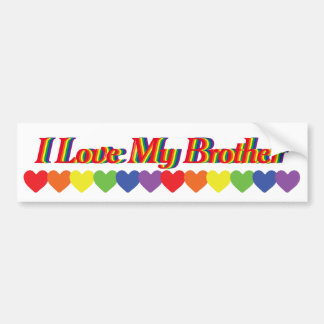 Red Rainbow Text I Love My Brother Bumper Sticker